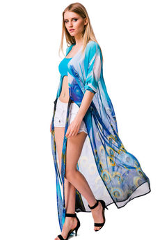 Шифоновое пляжное платье с принтом Хвост Павлина Mondigo