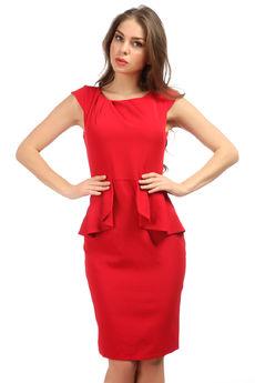 Красное платье с баской Mondigo
