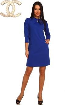Синее платье с брошкой Натали